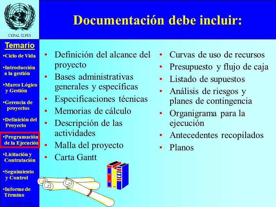 Ciclo de Vida Introducción a la gestión Marco Lógico y Gestión Gerencia de proyectos Definición del Proyecto Programación de la Ejecución Licitación y Contratación Seguimiento y Control Informe de Término Temario CEPAL/ILPES EAR - DPPI - ILPES Ejemplo Costo total vs.