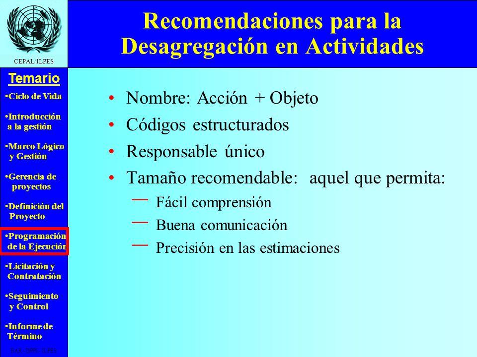Ciclo de Vida Introducción a la gestión Marco Lógico y Gestión Gerencia de proyectos Definición del Proyecto Programación de la Ejecución Licitación y Contratación Seguimiento y Control Informe de Término Temario CEPAL/ILPES EAR - DPPI - ILPES Tabla CódigoActividad A.1Provisión estaciones de trabajo A.2Instalación de la red A.2.1 Provisión servidores A.2.2 Instalación cableado AInstalación equipos BInstalación de programas B.2.1 Desarrollo aplicaciones B.2.2 Prueba e instalación B.1Instalación sistema operativo B.2Instalación aplicaciones B.3Configuración de la red