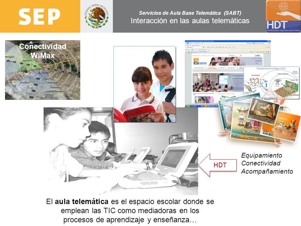 Servicios de Aula Base Telemática (SABT) Interacción en las aulas telemáticas El aula telemática es el espacio escolar donde se emplean las TIC como m