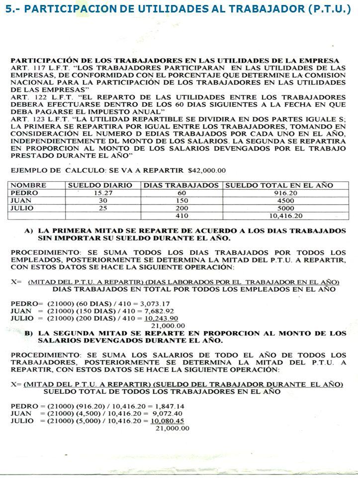 5.- PARTICIPACION DE UTILIDADES AL TRABAJADOR (P.T.U.)