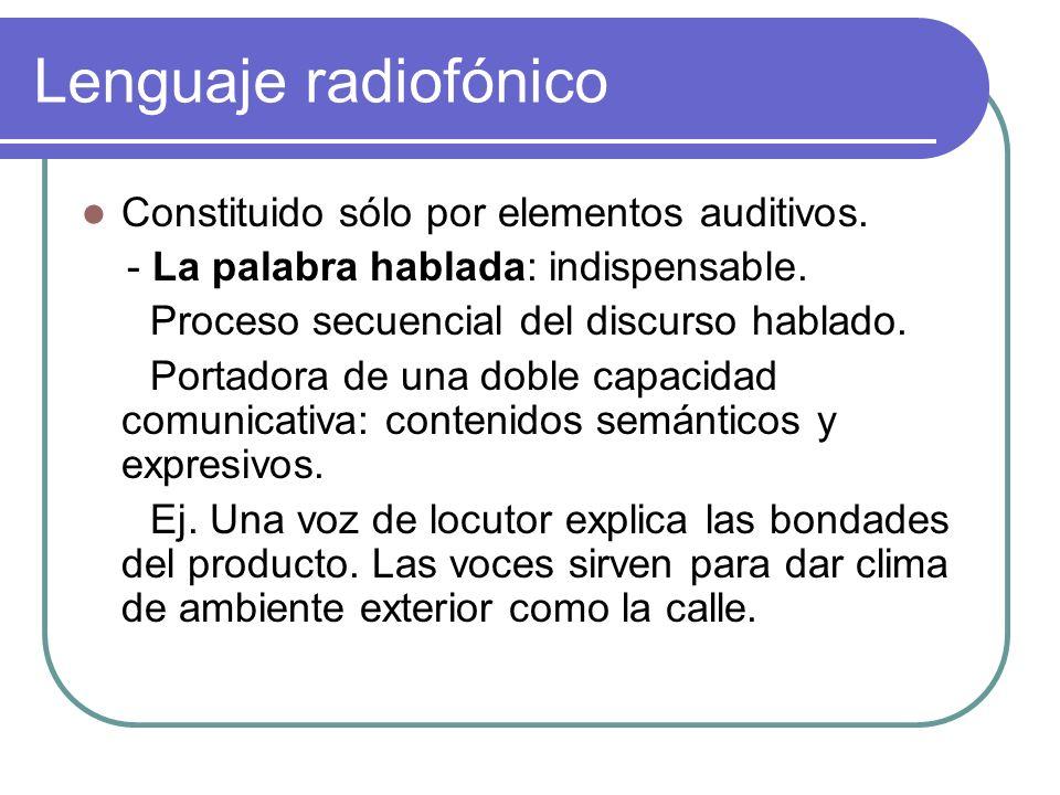 Lenguaje radiofónico Constituido sólo por elementos auditivos.