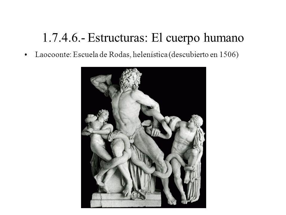 1.7.4.6.- Estructuras: El cuerpo humano Laocoonte: Escuela de Rodas, helenística (descubierto en 1506)