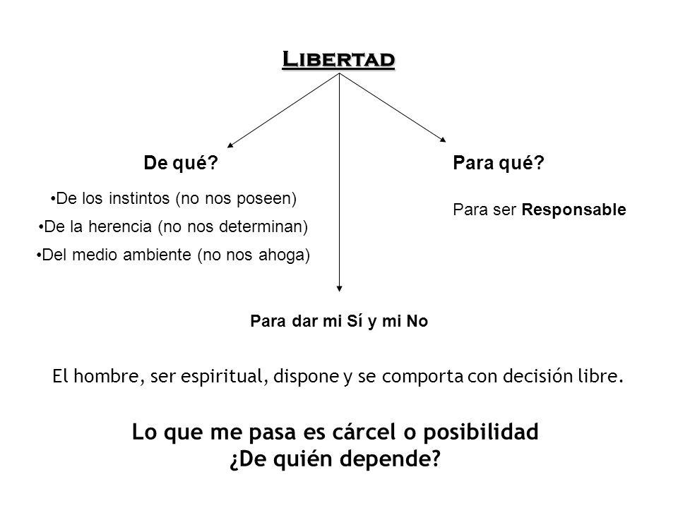 Libertad De qué?Para qué? De los instintos (no nos poseen) De la herencia (no nos determinan) Del medio ambiente (no nos ahoga) Para ser Responsable P