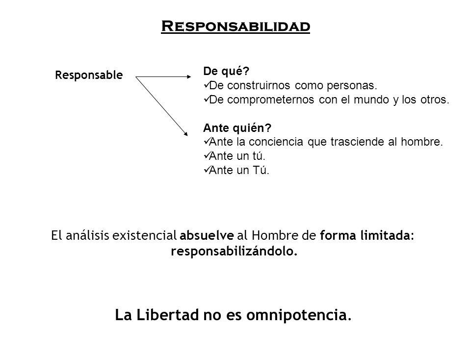 Responsabilidad El análisis existencial absuelve al Hombre de forma limitada: responsabilizándolo.