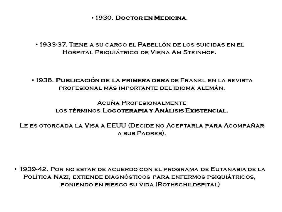 1938. Publicación de la primera obra de Frankl en la revista profesional más importante del idioma alemán. Acuña Profesionalmente los términos Logoter