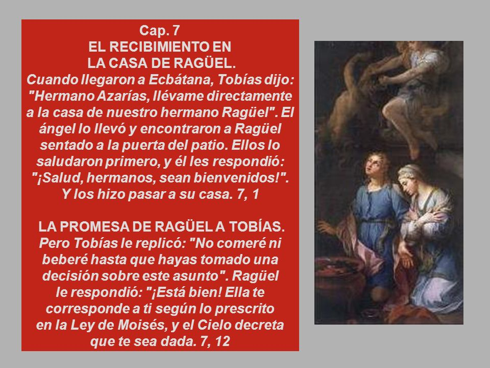 EL TEMOR DE TOBÍAS Y LAS RECOMENDACIONES DEL ÁNGEL.