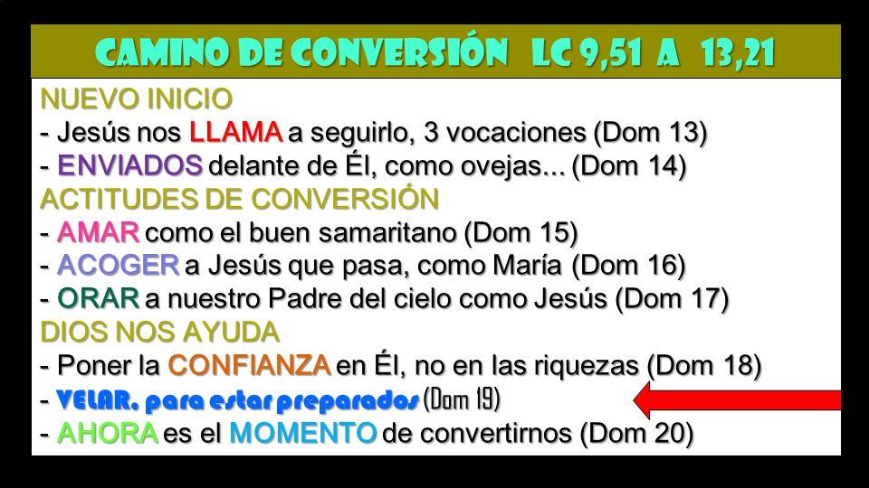 CAMINO de CONVERSIÓN Lc 9,51 a 13,21 NUEVO INICIO - Jesús nos LLAMA a seguirlo, 3 vocaciones (Dom 13) - ENVIADOS delante de Él, como ovejas...