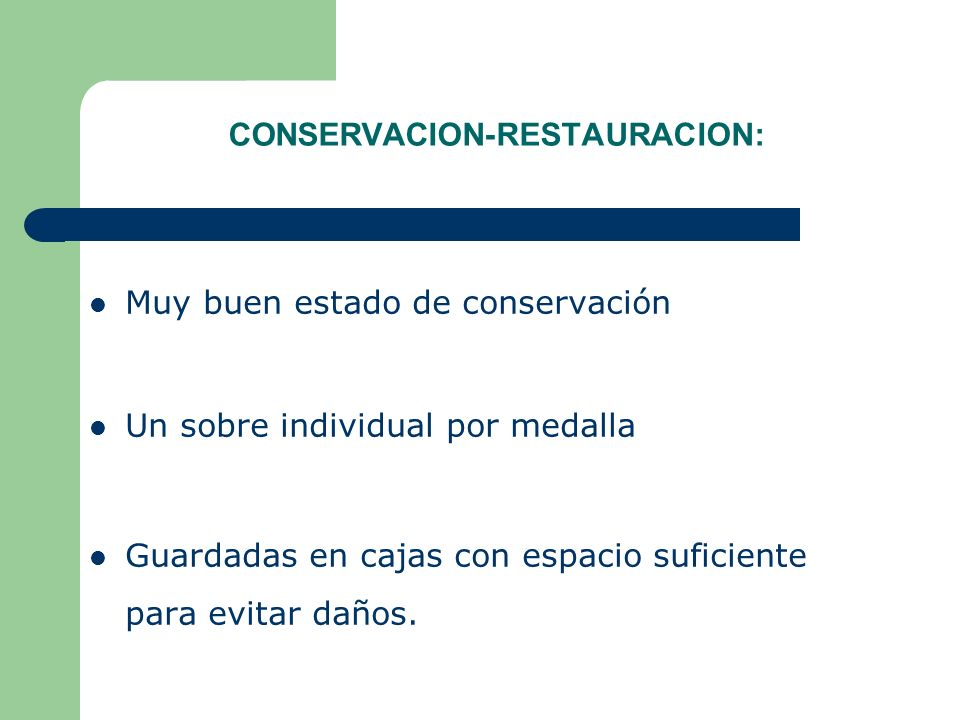 CONSERVACION-RESTAURACION: Muy buen estado de conservación Un sobre individual por medalla Guardadas en cajas con espacio suficiente para evitar daños