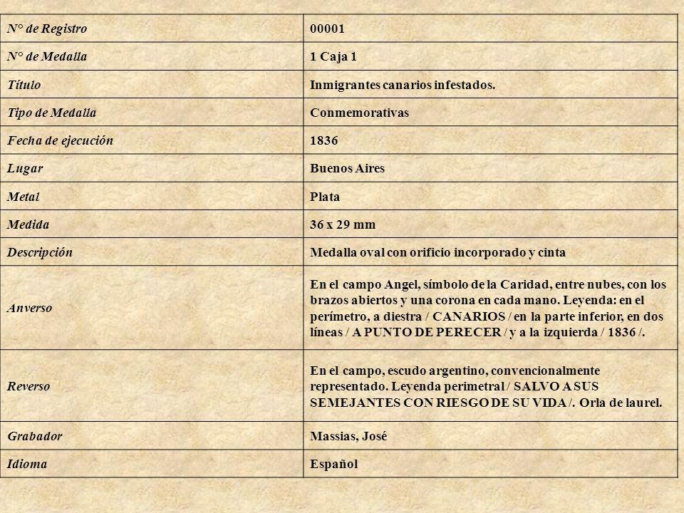 N° de Registro00001 N° de Medalla1 Caja 1 TítuloInmigrantes canarios infestados. Tipo de MedallaConmemorativas Fecha de ejecución1836 LugarBuenos Aire