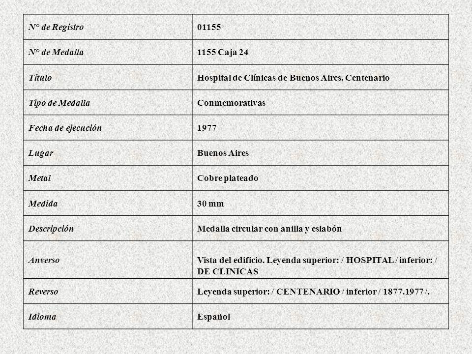 N° de Registro01155 N° de Medalla1155 Caja 24 TítuloHospital de Clínicas de Buenos Aires. Centenario Tipo de MedallaConmemorativas Fecha de ejecución1