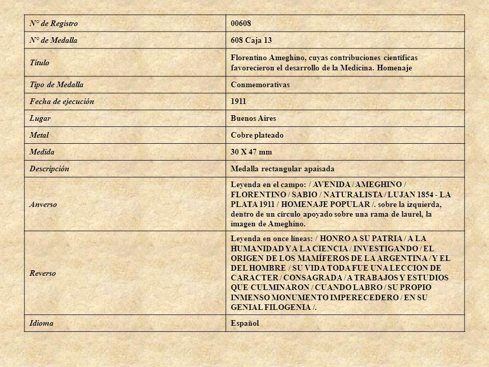 N° de Registro00608 N° de Medalla608 Caja 13 Título Florentino Ameghino, cuyas contribuciones científicas favorecieron el desarrollo de la Medicina. H