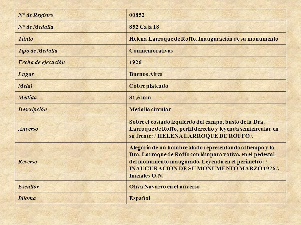N° de Registro00852 N° de Medalla852 Caja 18 TítuloHelena Larroque de Roffo. Inauguración de su monumento Tipo de MedallaConmemorativas Fecha de ejecu