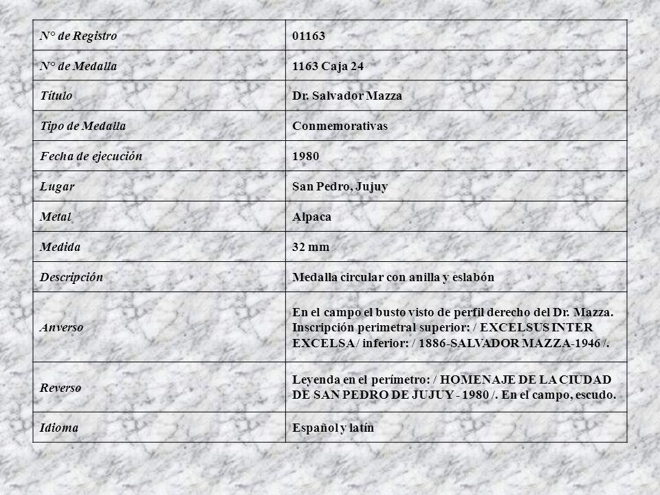 N° de Registro01163 N° de Medalla1163 Caja 24 TítuloDr. Salvador Mazza Tipo de MedallaConmemorativas Fecha de ejecución1980 LugarSan Pedro, Jujuy Meta