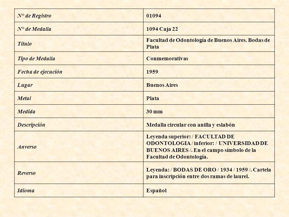 N° de Registro01094 N° de Medalla1094 Caja 22 Título Facultad de Odontología de Buenos Aires. Bodas de Plata Tipo de MedallaConmemorativas Fecha de ej