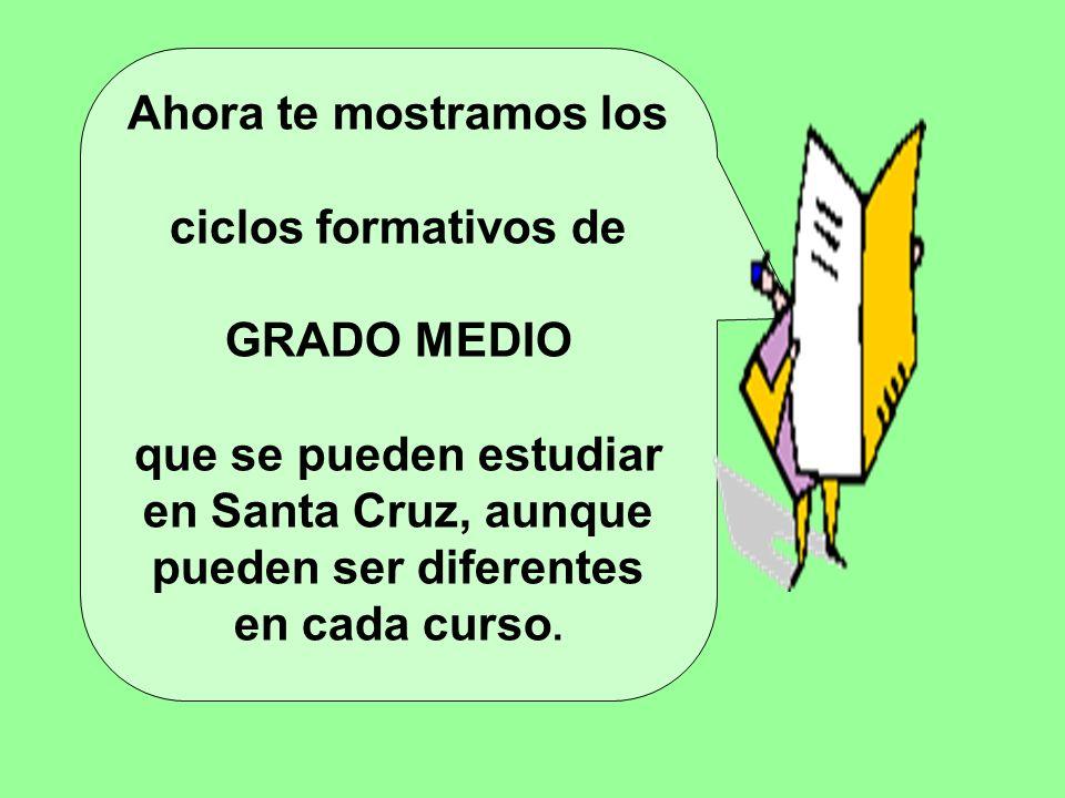 Ahora te mostramos los ciclos formativos de GRADO MEDIO que se pueden estudiar en Santa Cruz, aunque pueden ser diferentes en cada curso.