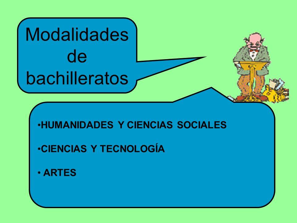 Modalidades de bachilleratos HUMANIDADES Y CIENCIAS SOCIALES CIENCIAS Y TECNOLOGÍA ARTES
