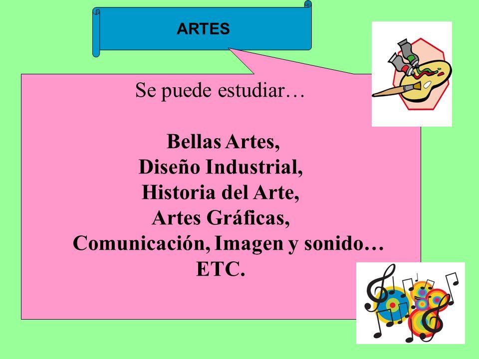 ARTES Se puede estudiar… Bellas Artes, Diseño Industrial, Historia del Arte, Artes Gráficas, Comunicación, Imagen y sonido… ETC.