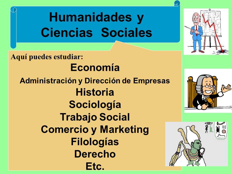 Humanidades y Ciencias Sociales Aquí puedes estudiar: Economía Administración y Dirección de Empresas Historia Sociología Trabajo Social Comercio y Marketing Filologías Derecho Etc.
