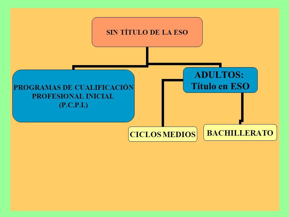 SIN TÍTULO DE LA ESO PROGRAMAS DE CUALIFICACIÓN PROFESIONAL INICIAL (P.C.P.I.) ADULTOS: Título en ESO CICLOS MEDIOSBACHILLERATO