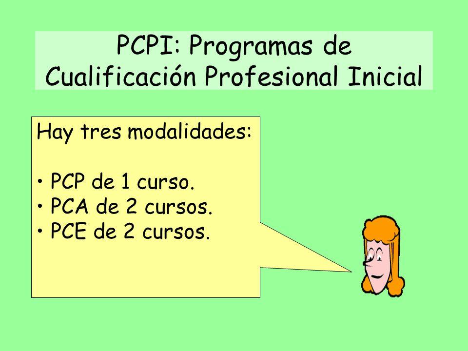 PCPI: Programas de Cualificación Profesional Inicial Hay tres modalidades: PCP de 1 curso.