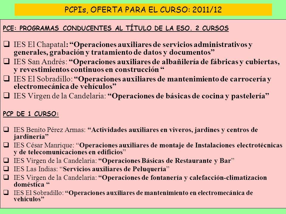PCPIs, OFERTA PARA EL CURSO: 2011/12 PCE: PROGRAMAS CONDUCENTES AL TÍTULO DE LA ESO.