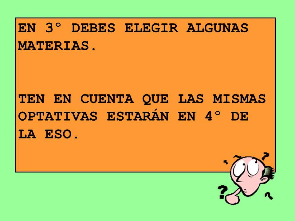 EN 3º DEBES ELEGIR ALGUNAS MATERIAS.