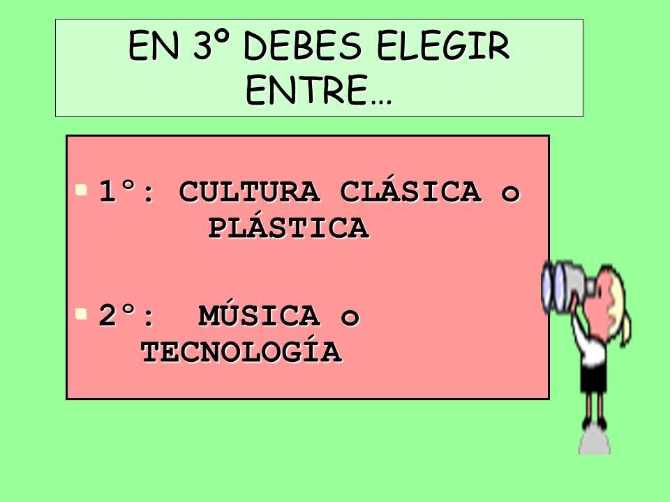 EN 3º DEBES ELEGIR ENTRE… 1º: CULTURA CLÁSICA o PLÁSTICA 1º: CULTURA CLÁSICA o PLÁSTICA 2º: MÚSICA o TECNOLOGÍA 2º: MÚSICA o TECNOLOGÍA