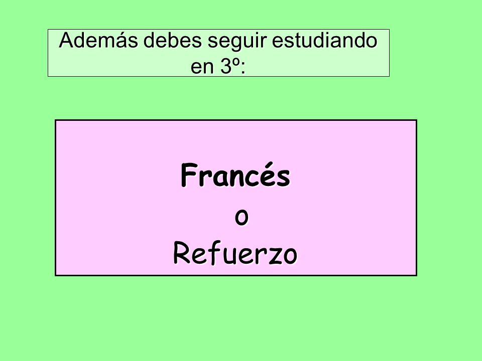 Además debes seguir estudiando en 3º: Francés oRefuerzo
