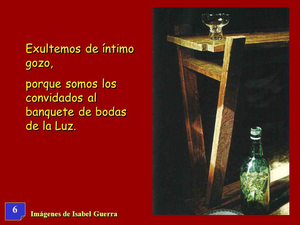 6 Imágenes de Isabel Guerra Exultemos de íntimo gozo, porque somos los convidados al banquete de bodas de la Luz.