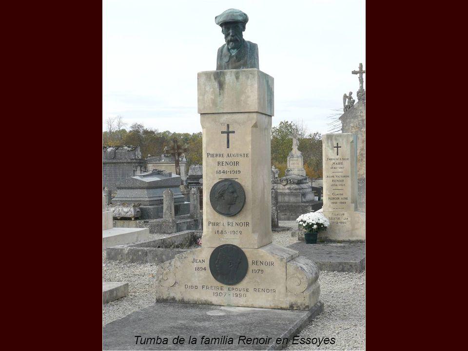 Pierre-Auguste Renoir moriría el 3 de diciembre de 1919, recién pasada una fuerte pulmonía, y sería enterrado a los tres días en Essoyes junto a su es