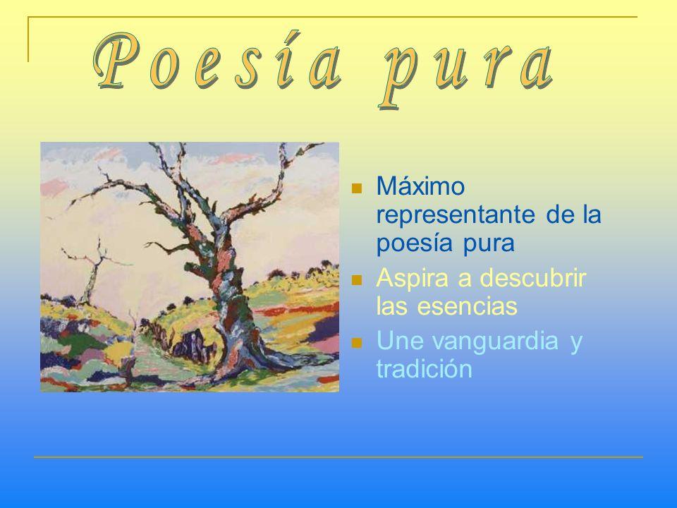 Máximo representante de la poesía pura Aspira a descubrir las esencias Une vanguardia y tradición