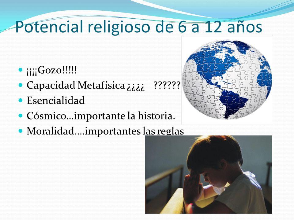 Potencial religioso de 6 a 12 años ¡¡¡¡Gozo!!!!! Capacidad Metafísica ¿¿¿¿ ?????? Esencialidad Cósmico…importante la historia. Moralidad….importantes
