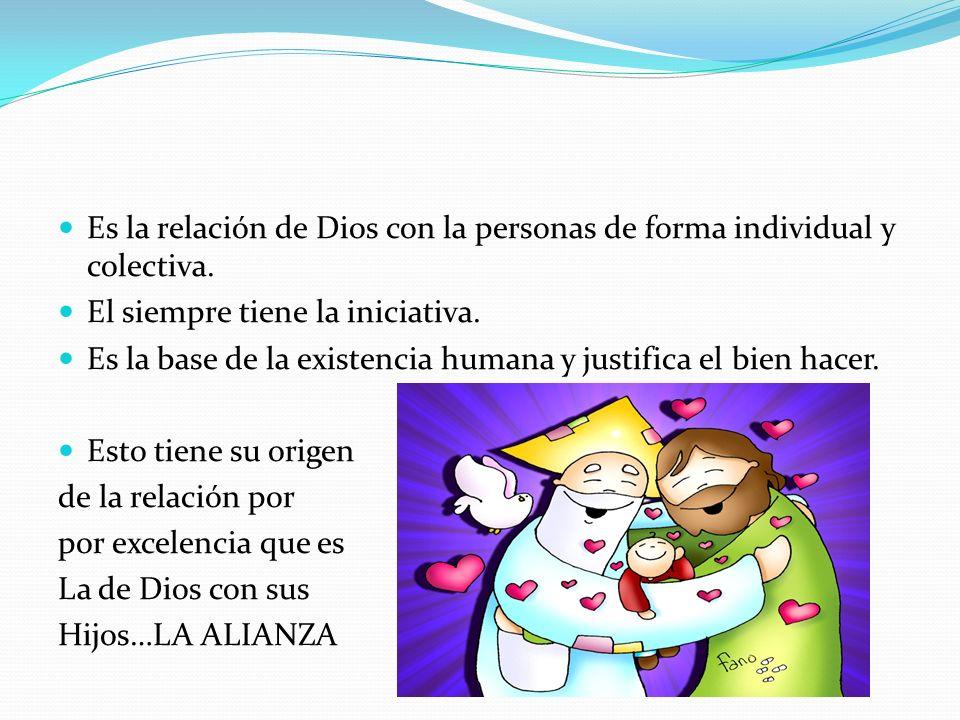 Es la relación de Dios con la personas de forma individual y colectiva. El siempre tiene la iniciativa. Es la base de la existencia humana y justifica