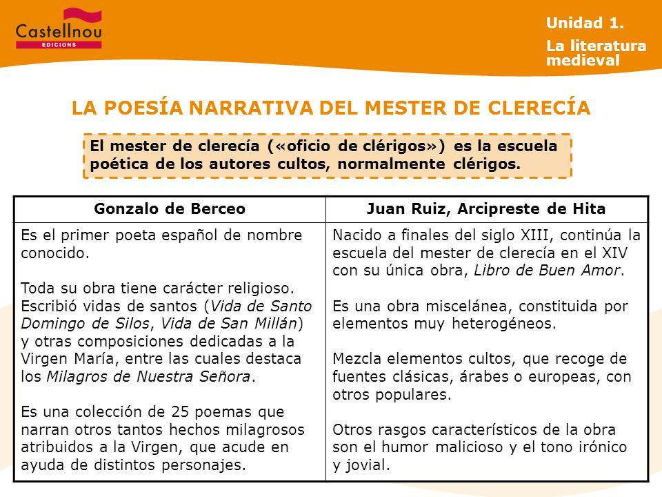 LA POESÍA NARRATIVA DEL MESTER DE CLERECÍA Gonzalo de BerceoJuan Ruiz, Arcipreste de Hita Es el primer poeta español de nombre conocido.