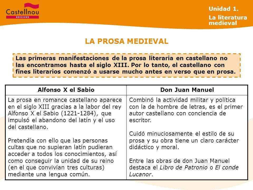 LA PROSA MEDIEVAL Alfonso X el SabioDon Juan Manuel La prosa en romance castellano aparece en el siglo XIII gracias a la labor del rey Alfonso X el Sabio (1221-1284), que impulsó el abandono del latín y el uso del castellano.