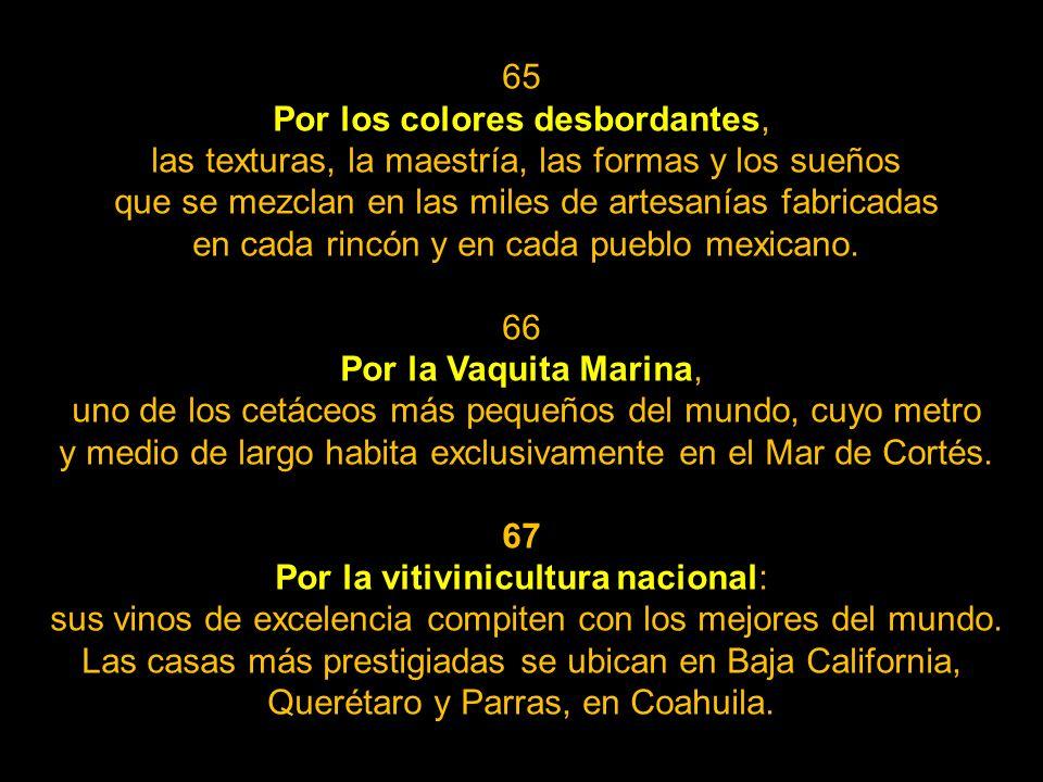 62 Por la Barranca del Cobre, en el estado de Chihuahua, cuyo sistema de cañones es más extenso y más profundo que el Gran Cañón de Colorado. 63 Por e