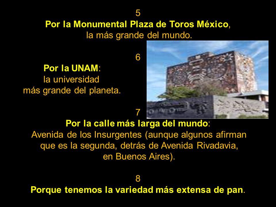 5 Por la Monumental Plaza de Toros México, la más grande del mundo.