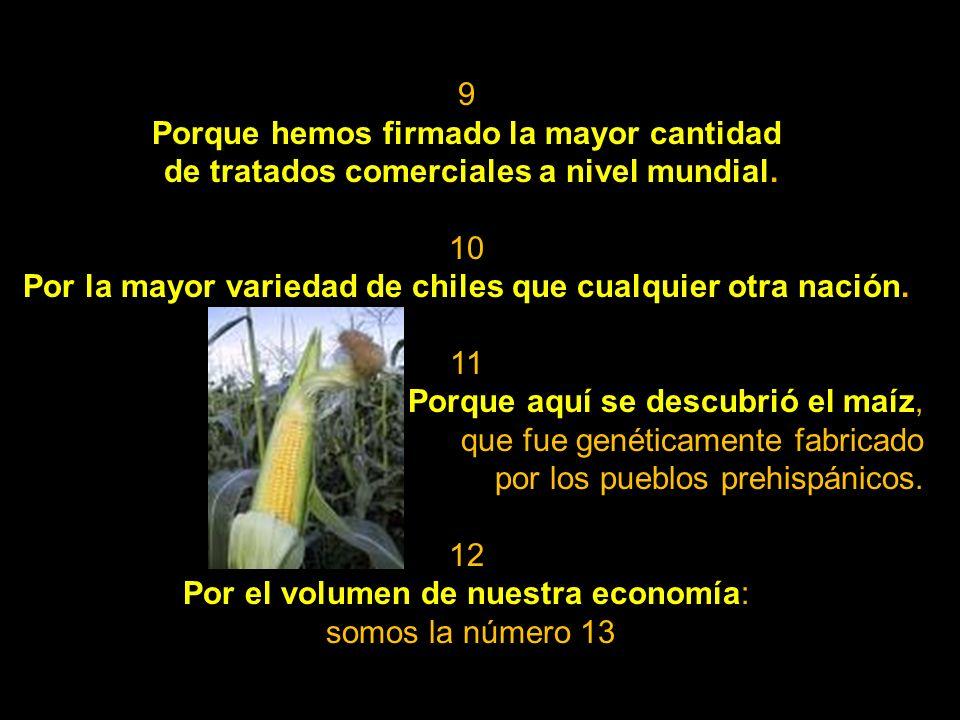 99 Por la ensalada César, el perro xoloitzcuintle, el cero (0), inventado por los olmecas y difundido por los mayas; el suero contra la deshidratación; el hule o caucho; el vanadio; el modelo matemático de Miguel Alcubierre, que permitiría superar la velocidad de la luz; la impresora más rápida del mundo, la Instabook, con la que es posible imprimir un libro en 17 segundos; los nachos; el mousepad; el maíz de calidad proteínica (doble cantidad de proteínas y 10% más de grano); el concreto traslúcido (permite muros casi transparentes, más resistentes y 30% más livianos que los de concreto tradicional, además de poderse colar bajo la lluvia); la asesoría para la creación de Google.