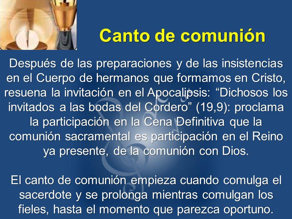 Después de las preparaciones y de las insistencias en el Cuerpo de hermanos que formamos en Cristo, resuena la invitación en el Apocalipsis: Dichosos