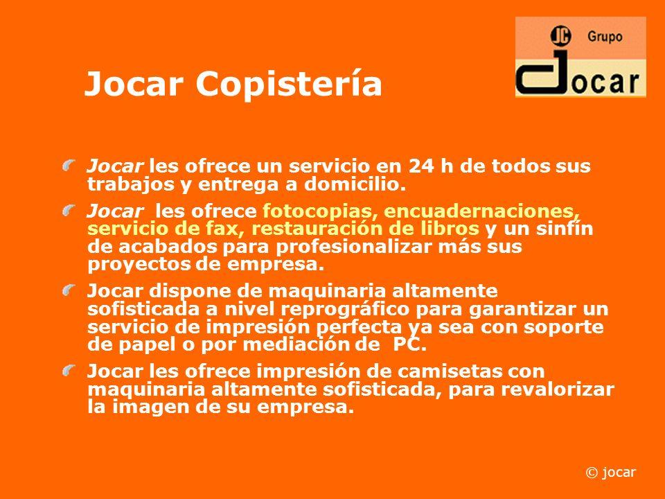 ¡Bienvenido a JOCAR & S.I.O., la empresa de reprografía, división informática, copistería, papelería e imprenta, que le ofrece proyectos de gran calid