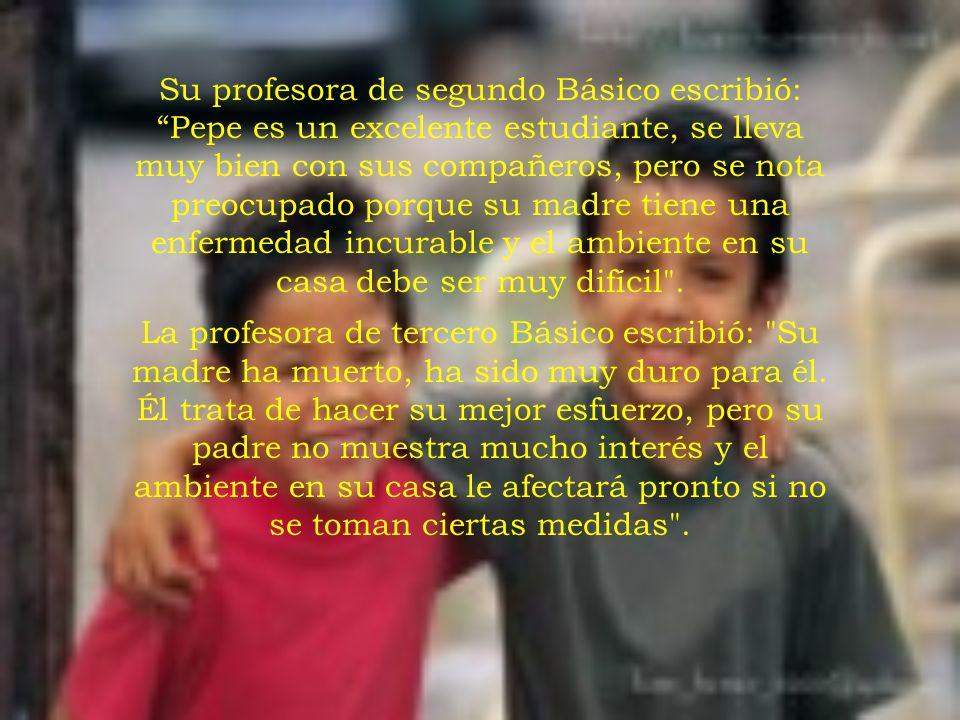 En la escuela donde la Srta. Rodríguez enseñaba, se le requería revisar el historial de cada niño. Ella dejó el expediente de Pepe para el final. Cuan