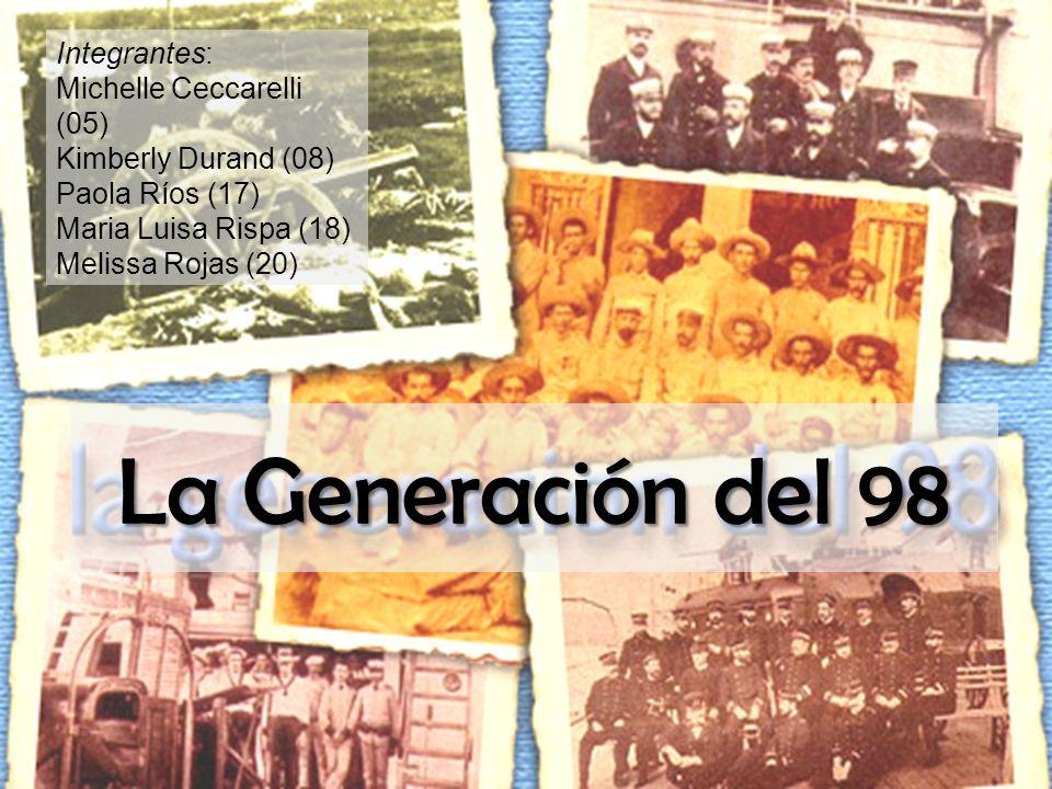 La Generación del 98 Integrantes: Michelle Ceccarelli (05) Kimberly Durand (08) Paola Ríos (17) Maria Luisa Rispa (18) Melissa Rojas (20)