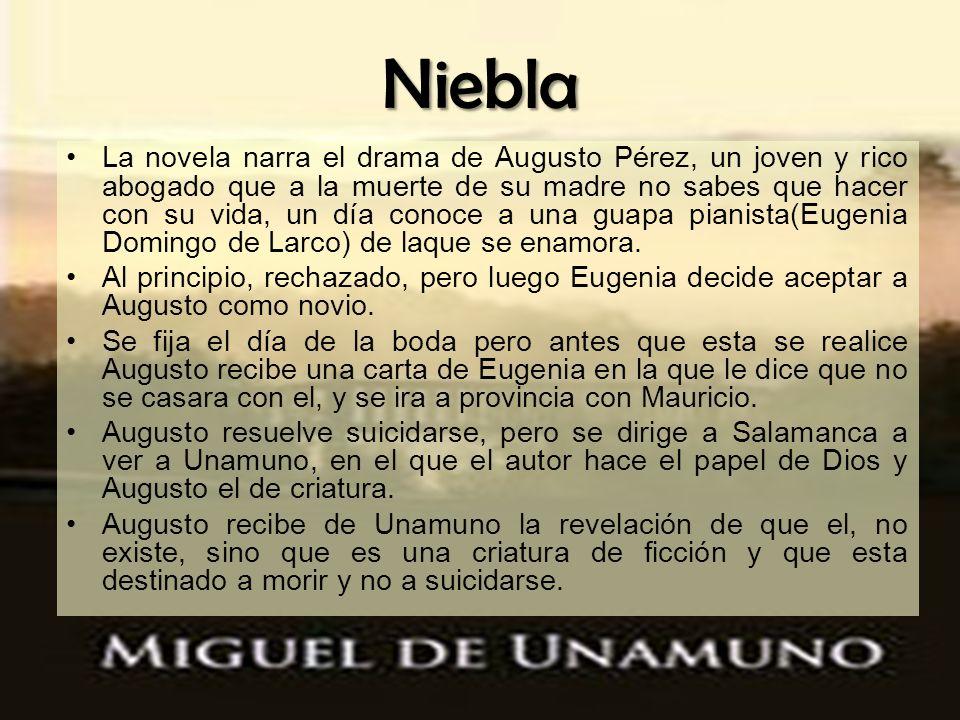 Niebla La novela narra el drama de Augusto Pérez, un joven y rico abogado que a la muerte de su madre no sabes que hacer con su vida, un día conoce a