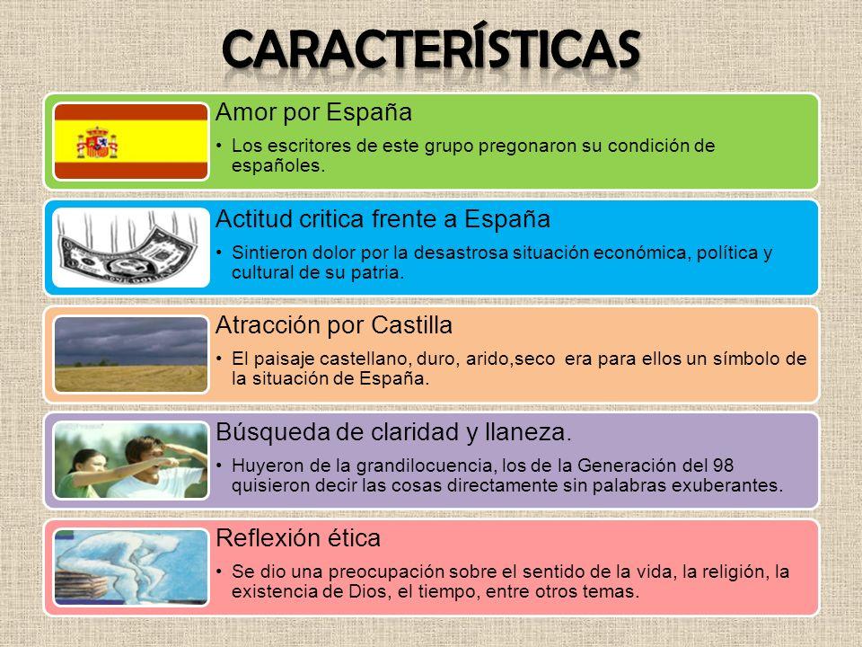 Amor por España Los escritores de este grupo pregonaron su condición de españoles. Actitud critica frente a España Sintieron dolor por la desastrosa s