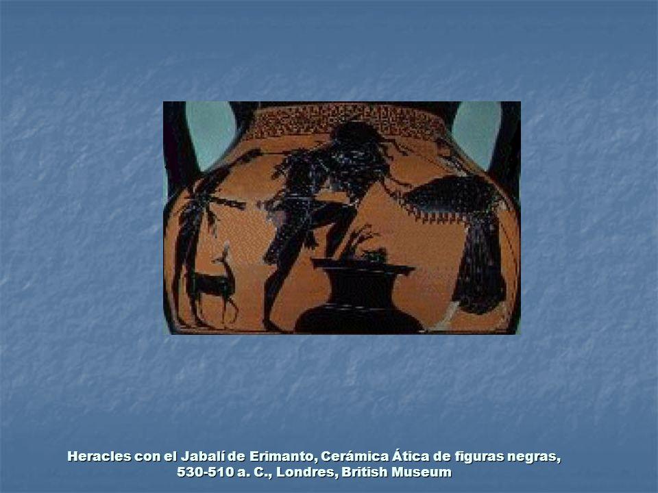 Heracles con el Jabalí de Erimanto, Cerámica Ática de figuras negras, 530-510 a. C., Londres, British Museum