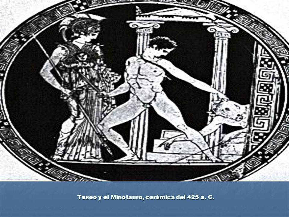 Teseo y el Minotauro, cerámica del 425 a. C.