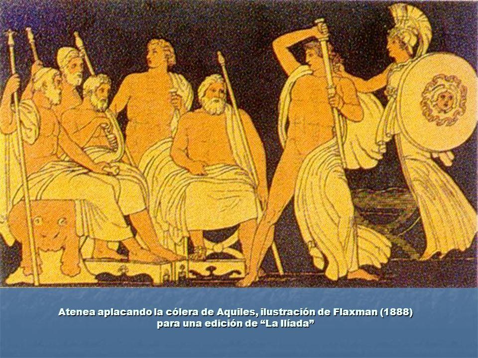Atenea aplacando la cólera de Aquiles, ilustración de Flaxman (1888) para una edición de La Ilíada