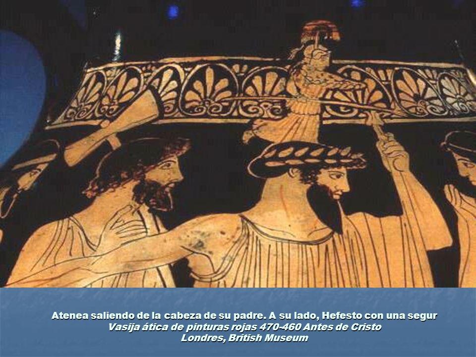 Atenea saliendo de la cabeza de su padre. A su lado, Hefesto con una segur Vasija ática de pinturas rojas 470-460 Antes de Cristo Londres, British Mus