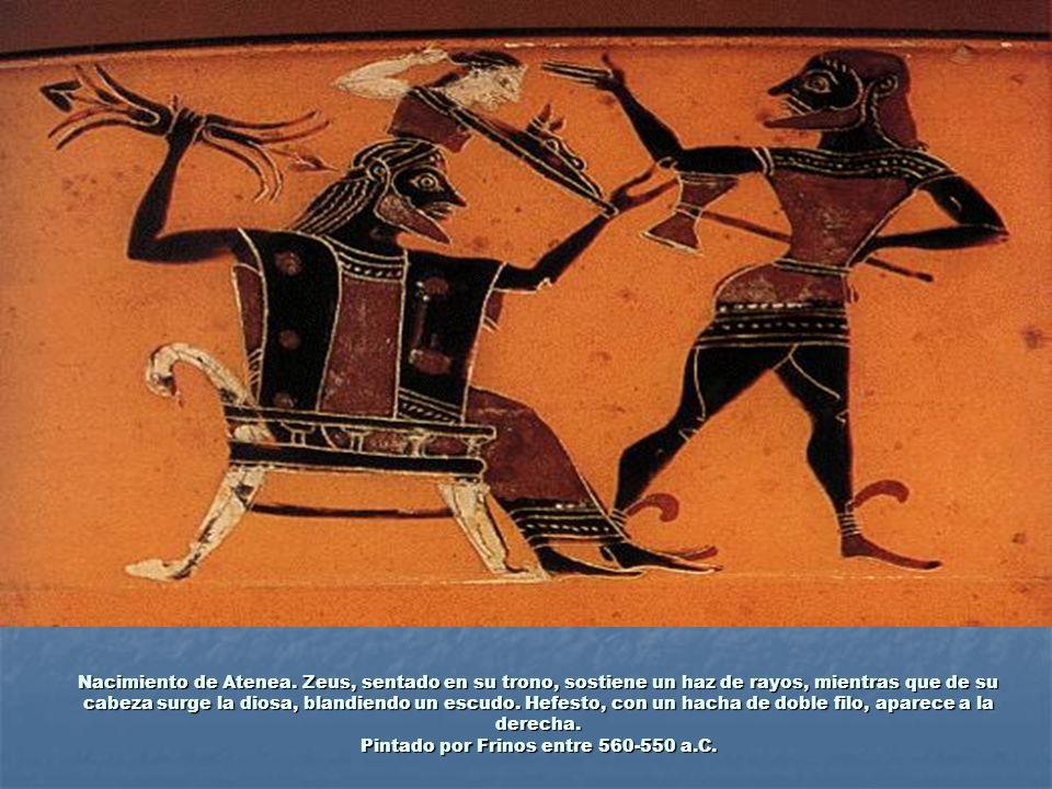 Nacimiento de Atenea. Zeus, sentado en su trono, sostiene un haz de rayos, mientras que de su cabeza surge la diosa, blandiendo un escudo. Hefesto, co