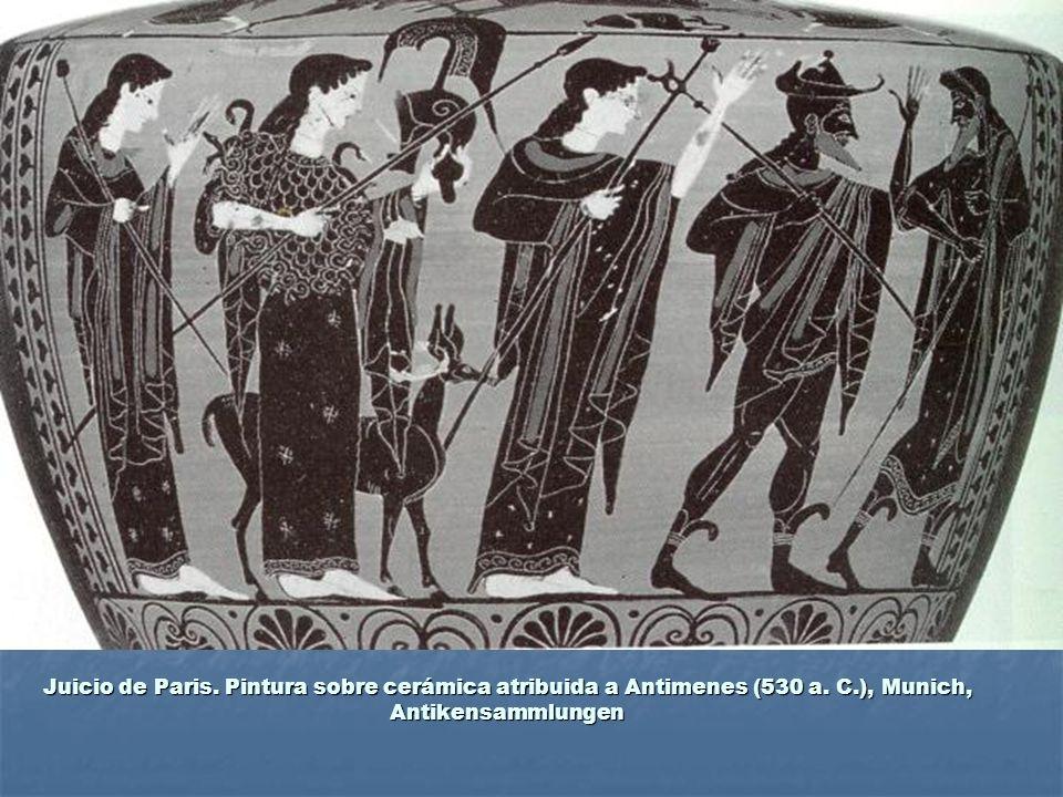 Juicio de Paris. Pintura sobre cerámica atribuida a Antimenes (530 a. C.), Munich, Antikensammlungen